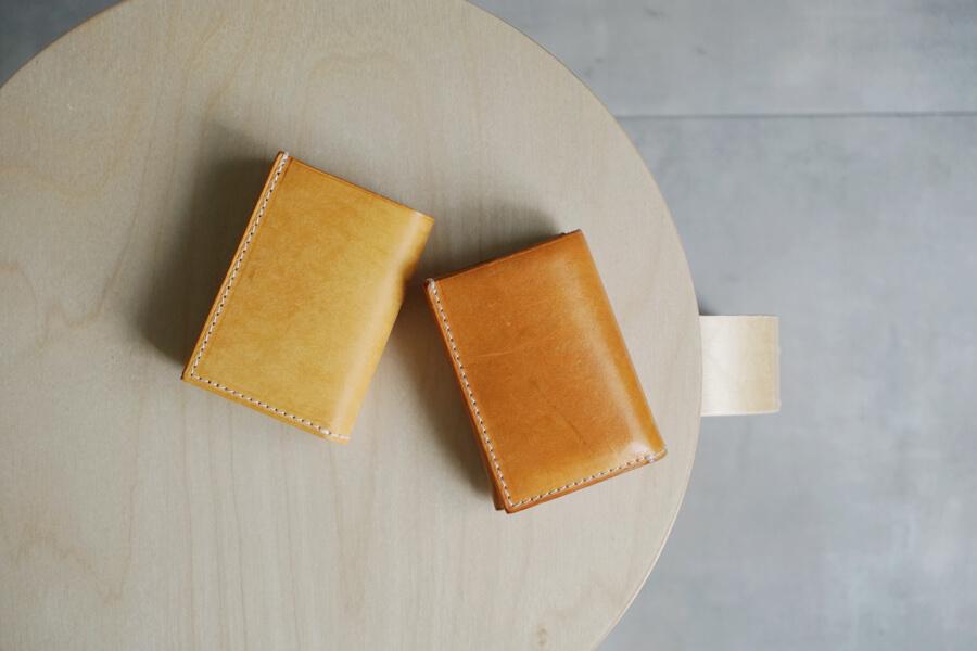 イボーナのコンパクト財布・経年変化サンプル